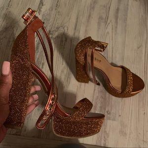 Copper Orange Sparkly heels